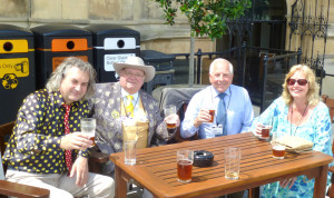 on the terrace in the Houses of Parliament -- Knigel Knapp, Howling, Leon Slater and Joy Lawson.